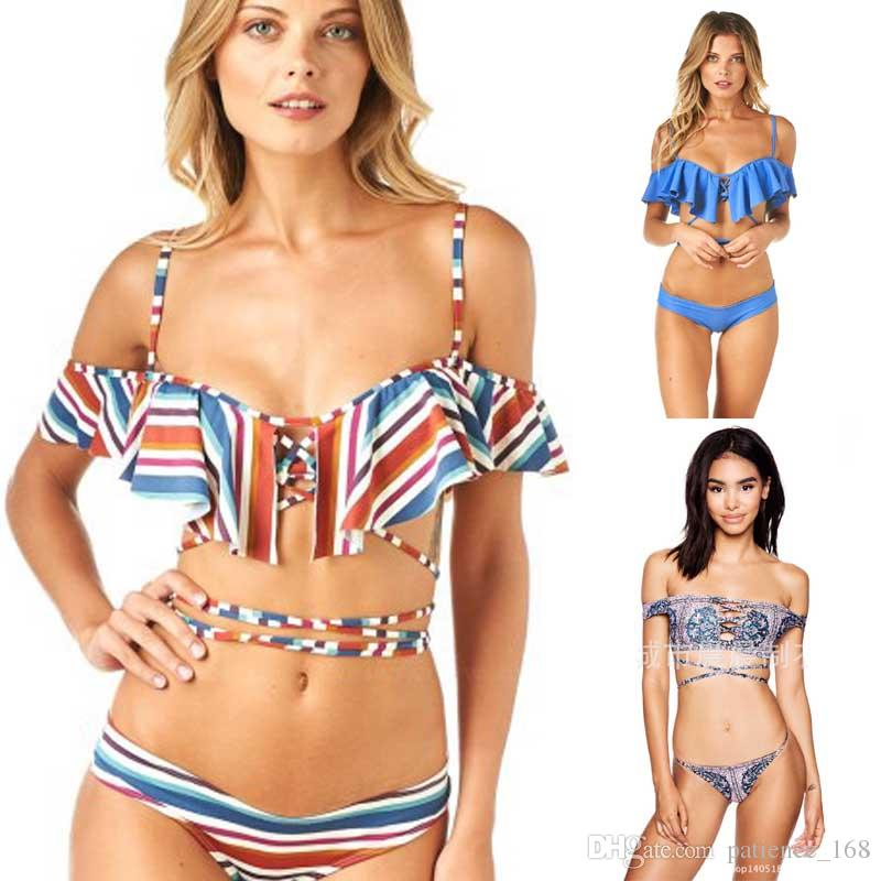 6afc7acc6951e 2019 8 Styles New Arrival Fashion Sexy Special Print OFF Shoulder BIKINI  Summer Beach Swimwear Bra Bikini Lady Top Quality HOT Swimsuit Free Ship  From ...