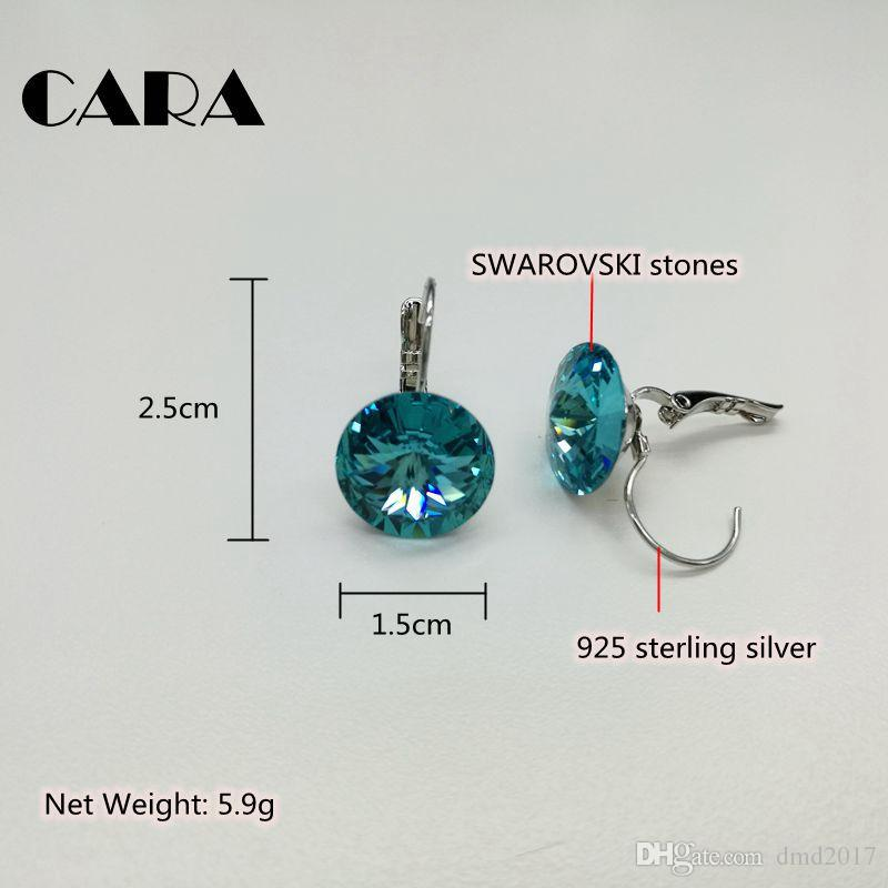 cara 2017 New Ladies luxury for SWAROVSKI fashion earrings 925 sterling silver hoop earrings for women jewelry gift box CARA0105