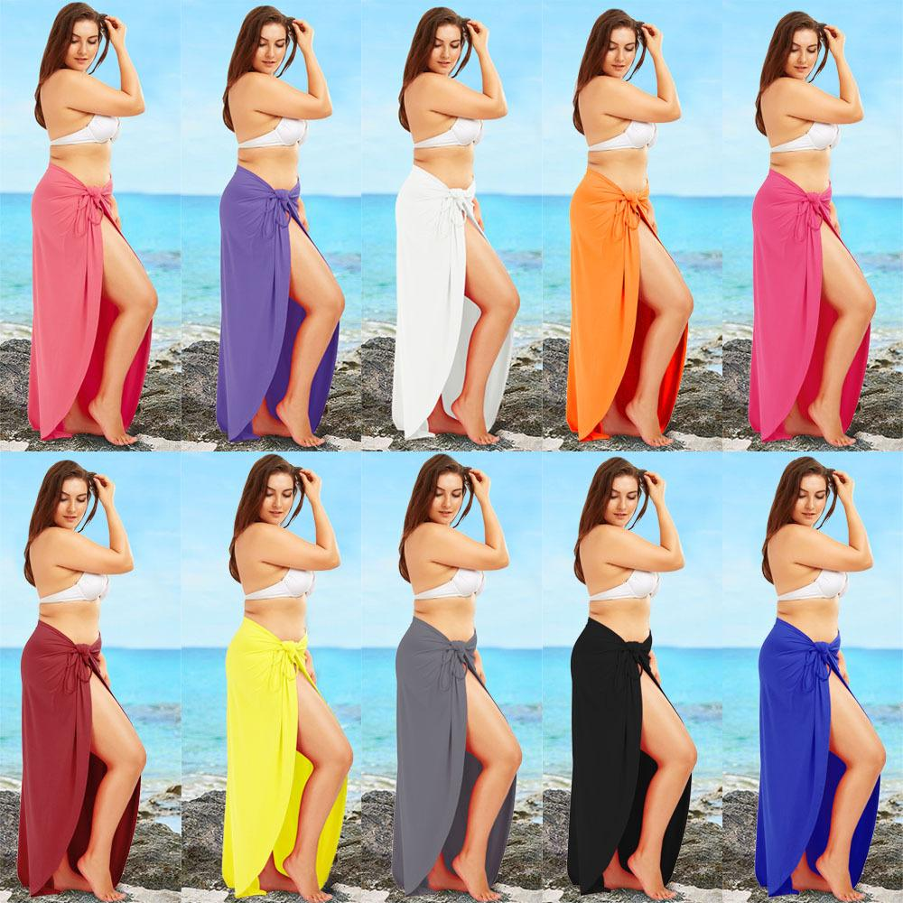 35dc16fec89 Women Fashion Sleeveless Solid Color Cotton Casual Beach Wear Wrap Cover Up  Dress Plus Size S-5XL