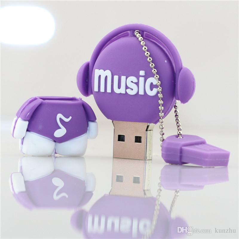 Creative lovely usb flash drive 64GB 32GB memory stick pen drive u disk 32GB pendrive music man external storage fee shiping
