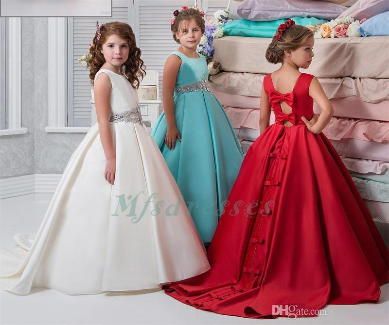 Ivory Red Flower Girl Dresses Satin Ball Gown Sash Crystals Beads Girs Pageant Dress For Wedding Bow Sexy Back Kids Prom Party Dress