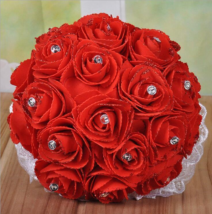 Bouquets de mariée de mariage avec des fleurs faits à la main Cristal strass Rose Fournitures de mariage Rose Mariée Holding Broche Bouquet Bouquet Fleur de mariage