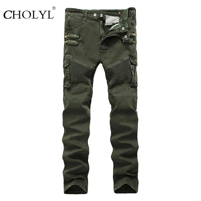 Wholesale- 2017 Men Army Green Punk Jeans Zippered Pockets Mens Biker Jeans Straight Fit Green Motorcycle Jeans Free Shipping