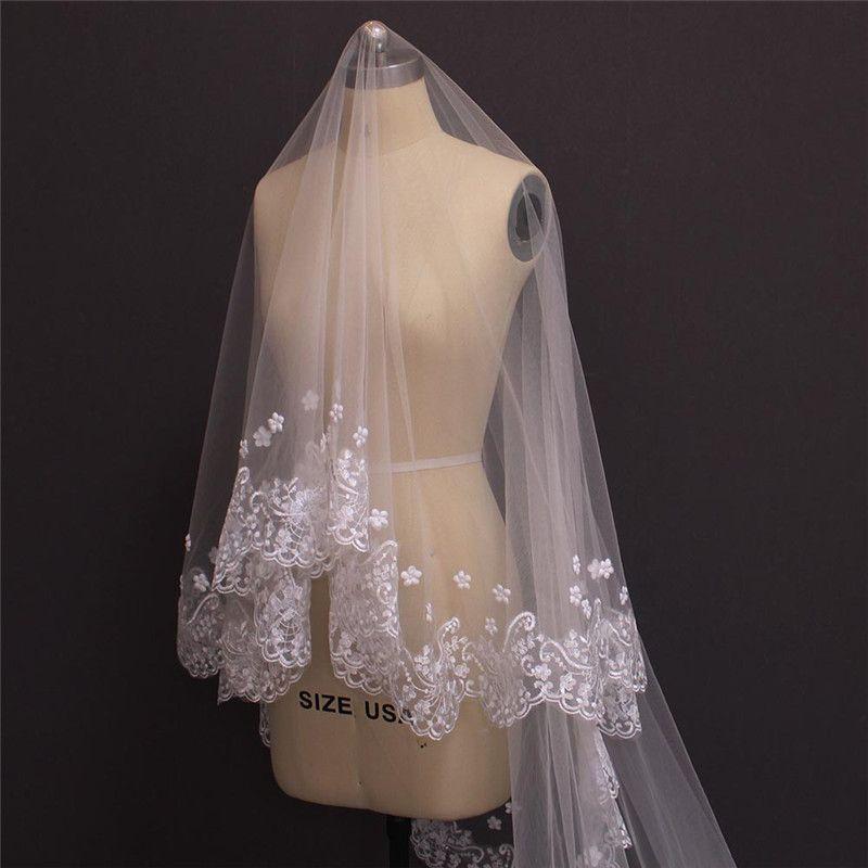 Single Tier Chic Lujoso velo de novia de la Catedral sin peine Pearl Pearl Beaded Flower Velos nupciales
