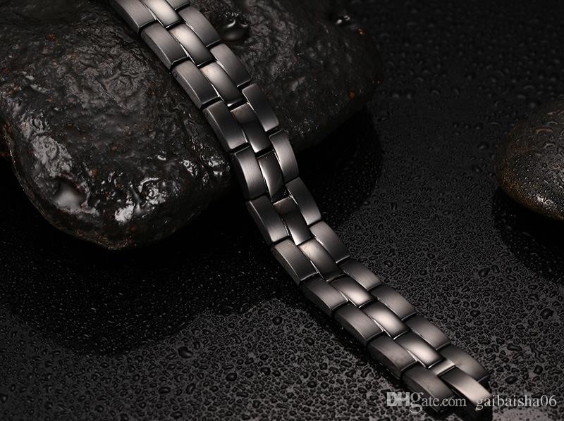 Herren Edelstahl Armband Schwarz Magnetische Reize Armbänder Armreifen 218mm Gesunde Energie Armbänder für Männchen