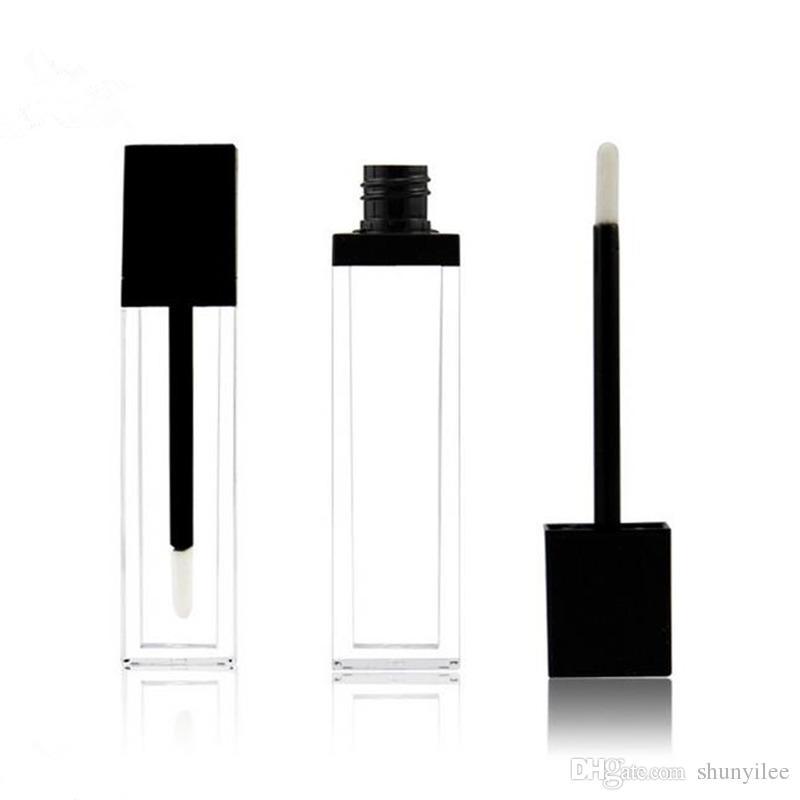 8ml square shape ACRYLIC transparent lip gloss tube mascara tube with black lid empty tube fast shipping F2017578