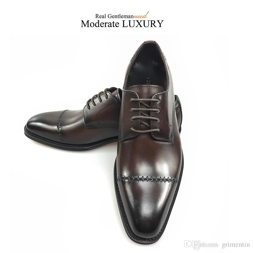 GRIMENTIN Mens oxford shoes fashion hot sale genuine leather black brown formal men dress shoes brand wedding business office male shoes JM