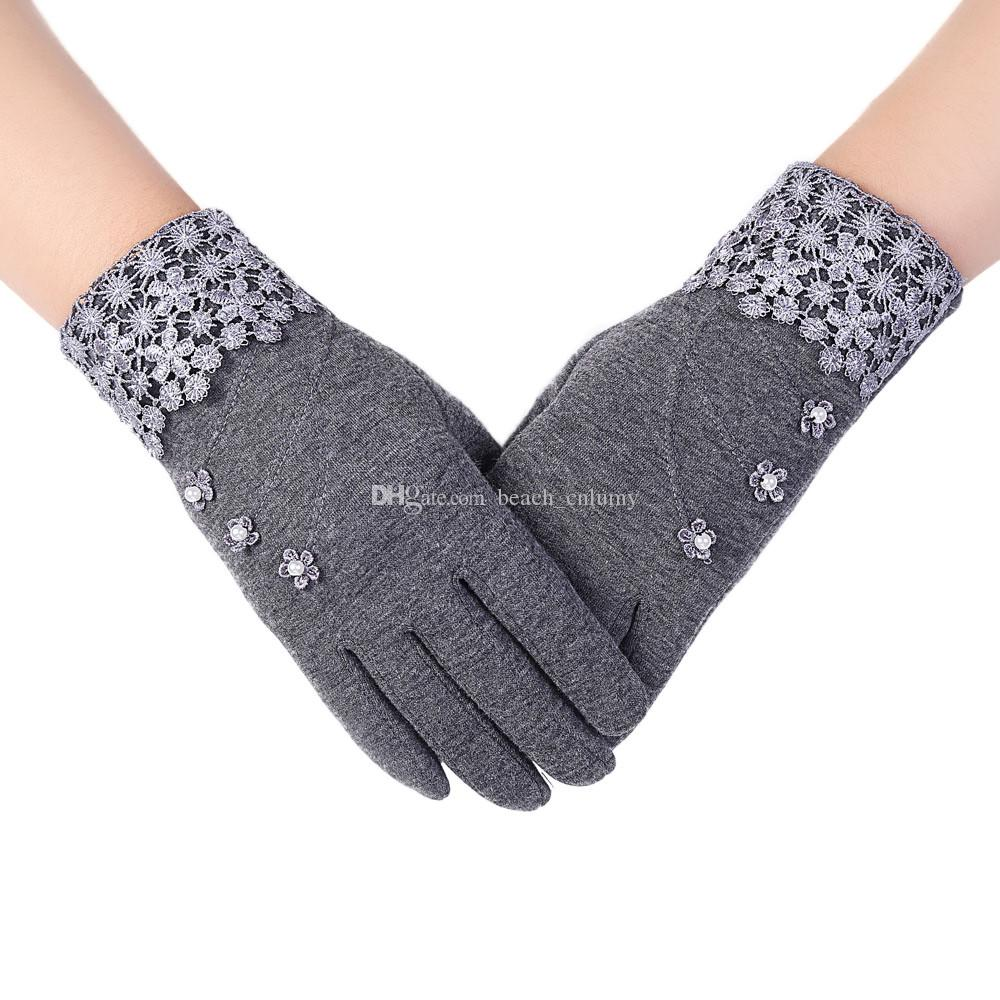 Womens Gloves Fashion Ladies Lace Phone Touch Screen Winter autumn Warm Five Fingers Gloves Mittens Cashmere Fashion Accessories