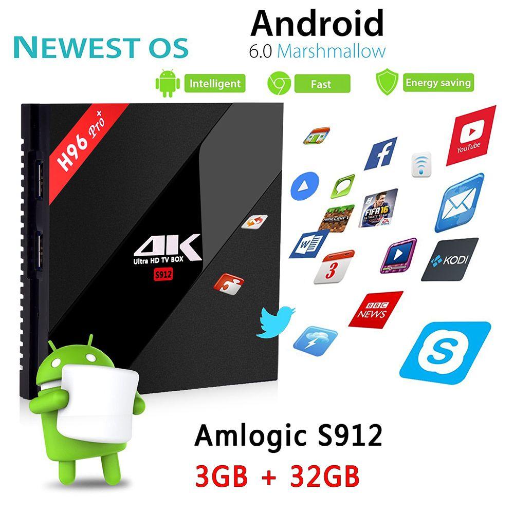 H96 Pro Plus Android 6.0 TV Box Amlogic S912 Octa-Core 3G 32G Marshmallow Dual Wifi HDMI 4K Media Player