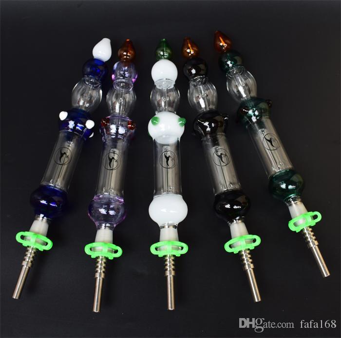 Azul / negro / blanco / rosa / verde Kit NC NC con punta de titanio de 14 mm Titanio de titanio BONG BONG BARK FUMAR TUBOS TUBO DE VERDADOR