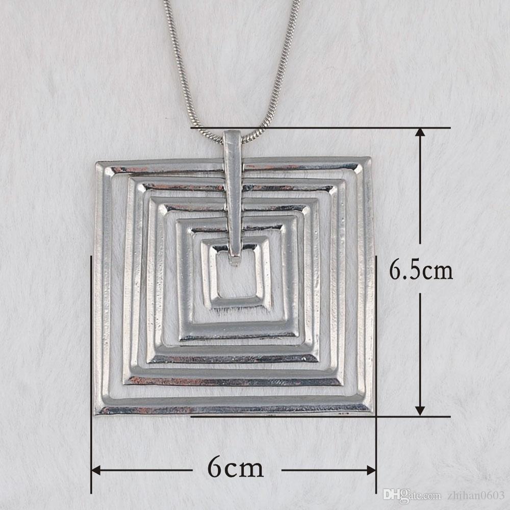 Catena di clavicola del pendente del quadrato di modo di vendita calda geometrica Trasporto libero