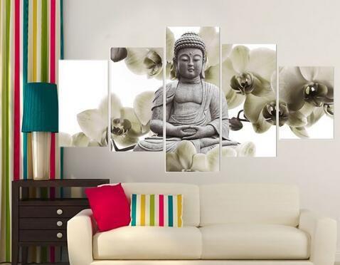 UnFramed 5 Panneau Grand Orchidée Fond Bouddha Peinture Fengshui Toile Art Mur Photos pour Salon Décor À La Maison Pour Les Femmes