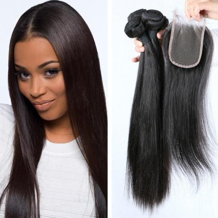 2018 Grade 8a 1b Color Straight Human Hair Weave Machine Double Weft