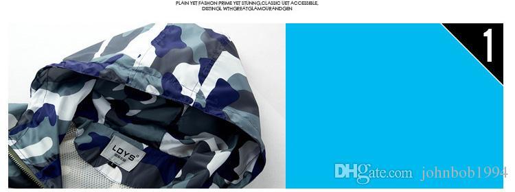 Homens moda Slim Super Seco Camuflagem Windbreaker Maré Masculino Com Capuz Casacos Casacos Esporte Ao Ar Livre Jaquetas protetor Solar seção fina