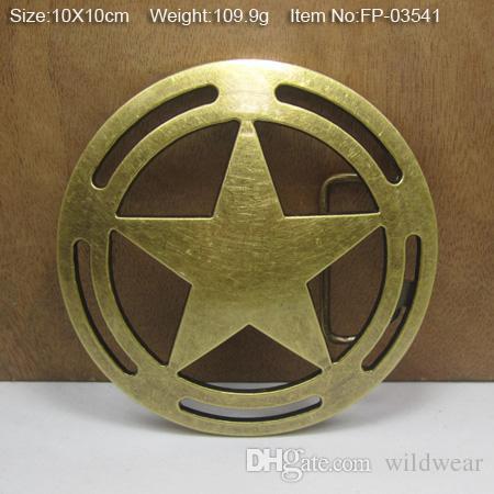 BuckleHome beş köşeli yıldız kemer tokası ile antik pirinç finish FP-03541 sürekli stok ücretsiz kargo ile