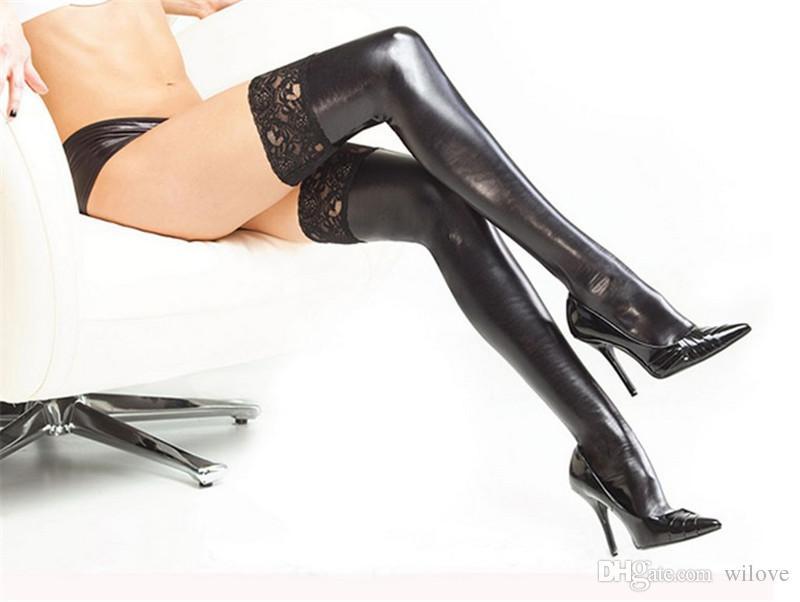 Kadın Çorap Dantel Up Ultra Elastik Deri Tutkal Seksi Çoraplar Seksi Iç Çamaşırı Faux Deri Uyluk Highs Seksi Lateks Çorap PU Stocking