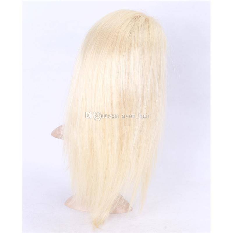 Glueless Full Lace Wig Blonde 613 Human Lace Wig With Baby Hair Platinum Silky straight Lace Front Wig Free Parting Bleached Knot