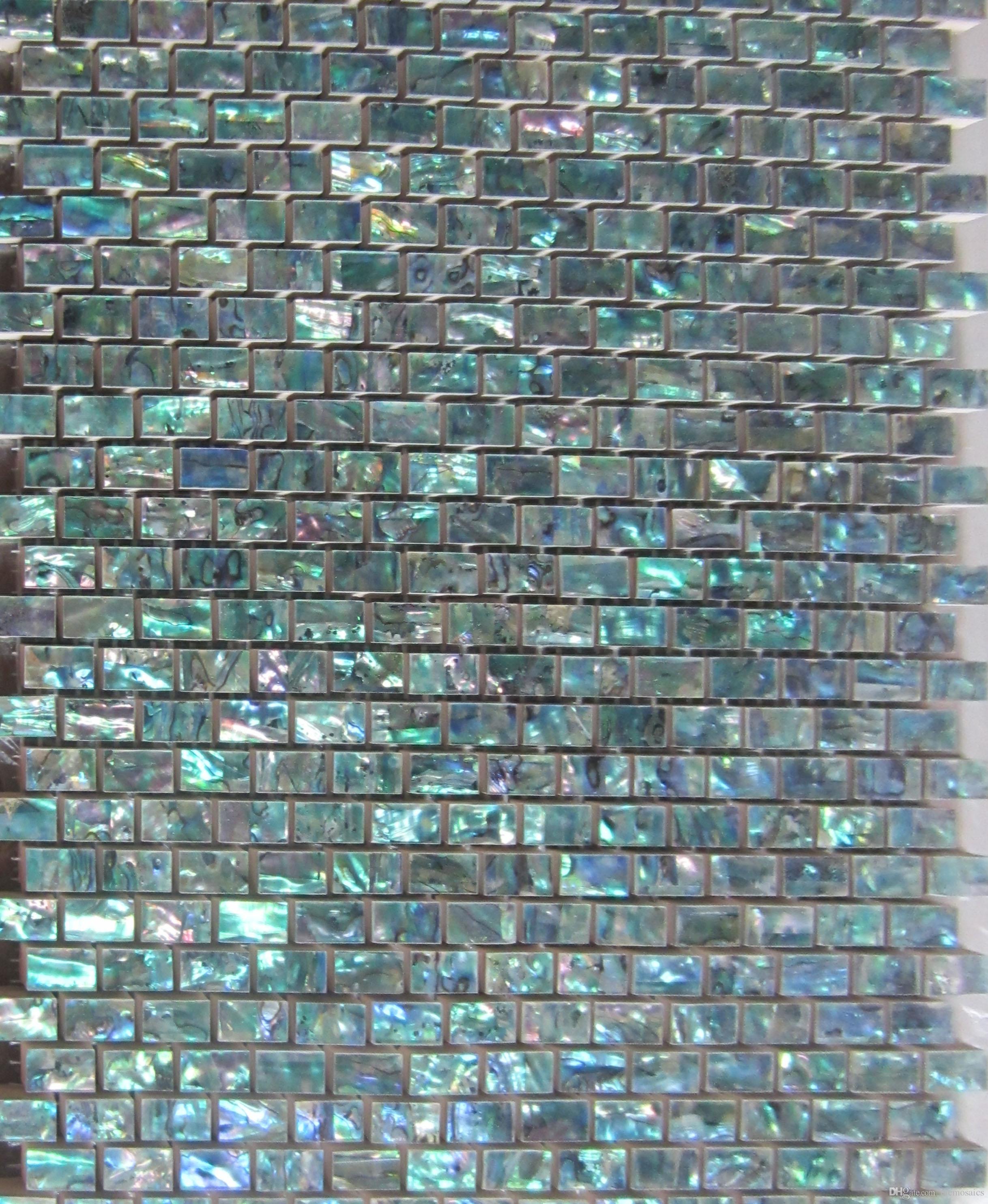 2017 natural abalone green seashell mosaic tiles mini brick