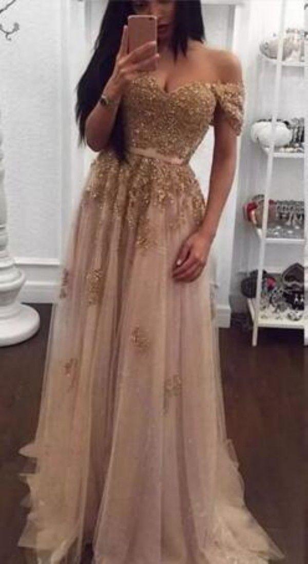 シャンパンレースのビーズアラビアのイブニングドレス恋人Aラインチュールウエディングドレスヴィンテージオフショルダー安い正式なパーティーガウン