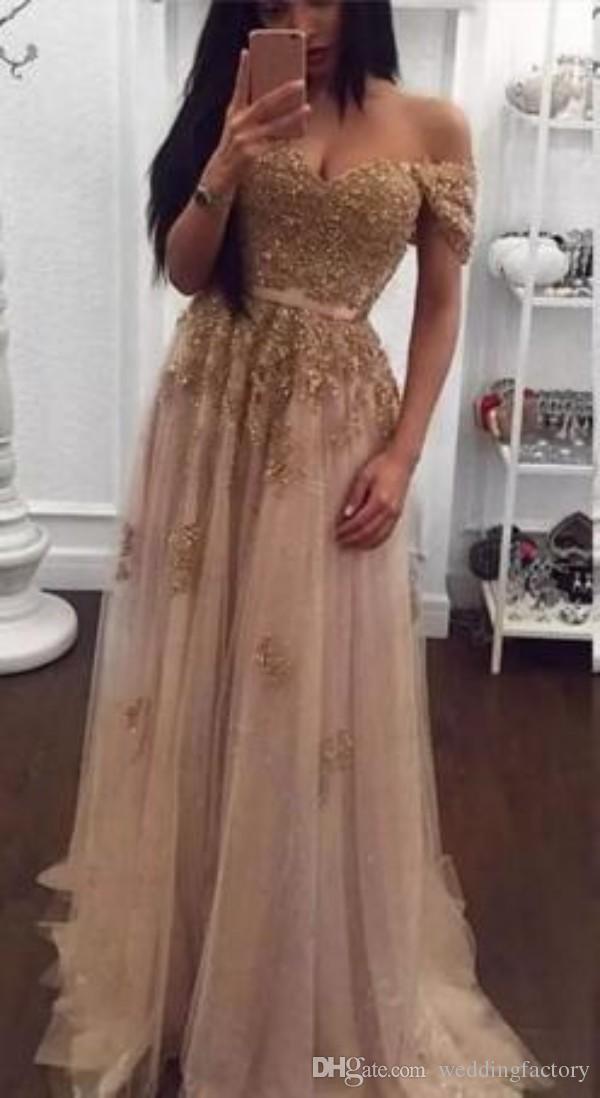 Champagne Kant Beaded Arabische Avondjurken Sweetheart A-lijn Tule Prom Jurken Vintage Off Shoulder Cheap Formal Party Jurken
