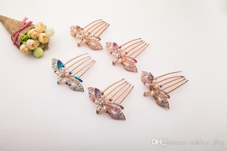 Fancy Wedding Bridal Hair Comb Jewelry Flower Crystal Tiaras & Hair Accessories Sparkly Bride Hair Combs In Stock Ready to Ship,DHL free