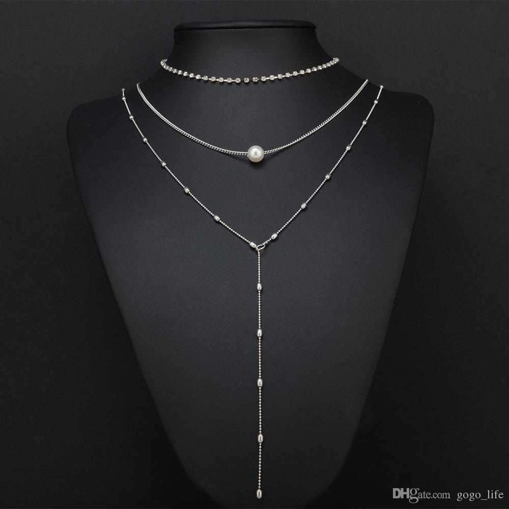 Gold Layered Halskette 3 Schichten Kette gehämmert Disc Long Bar Layered Halskette Schlüsselbein Kette für Frauen versandkostenfrei