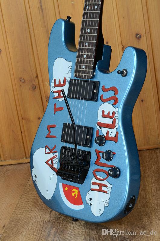 Custom Tom Morello Arm Homeless Metallic Blue Electric Guitar EMG Pickups, Black Floyd Rose Tremolo Bridge, White MOP Dot Fingerboard Inlay