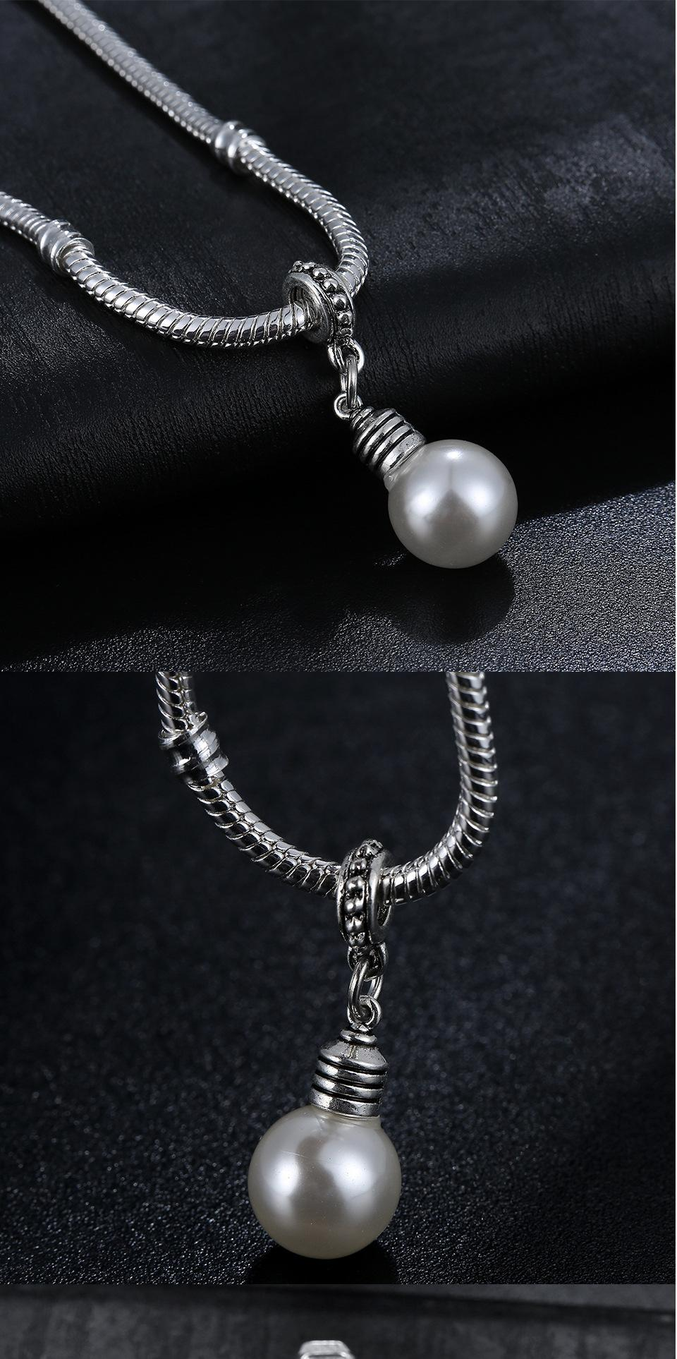 Ancient Style Pearl Light Bulb Alloy Large Hole pendant Spacer Bead Fit Pandora Chamilia Biagi Charm Bracelets