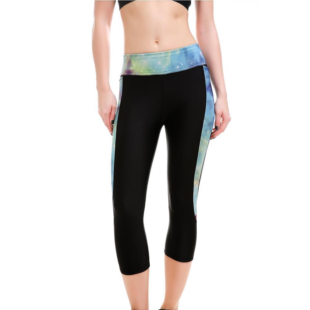 Acheter Femmes Galaxy Imprimer Taille Haute Sexy Mince Fitness Yoga Veau  Longueur Leggings Patchwork Poche Sport Élastique Moulante Pantalon Pour  Femme De ... 2dbffe028e3