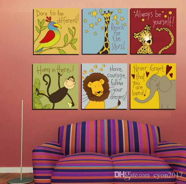 Cartoon Animals Motto Canvas Painting Animated Quotes Prints Maxim Wall Pictures For Bayby Kids Children Room Decor No Frame
