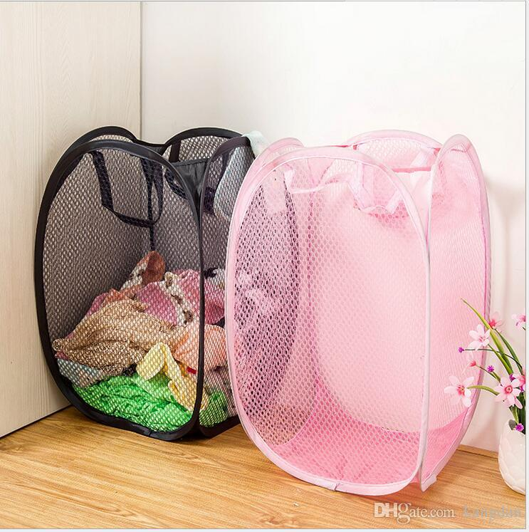 New Mesh Fabric Foldable Pop Up Dirty Clothes Washing Laundry Basket Hamper Bag Bin Hamper Storage bag for Home Housekeeping Use