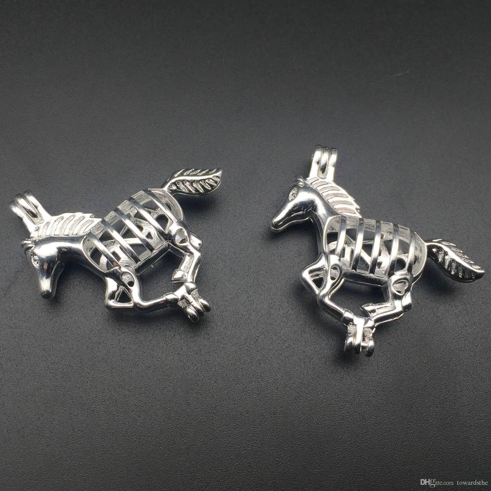 Pearl Cage Halskette Anhänger, ätherisches Öl Diffusor, Pferd versilbert fügen Sie Ihre eigene Perle, um es attraktiver zu machen
