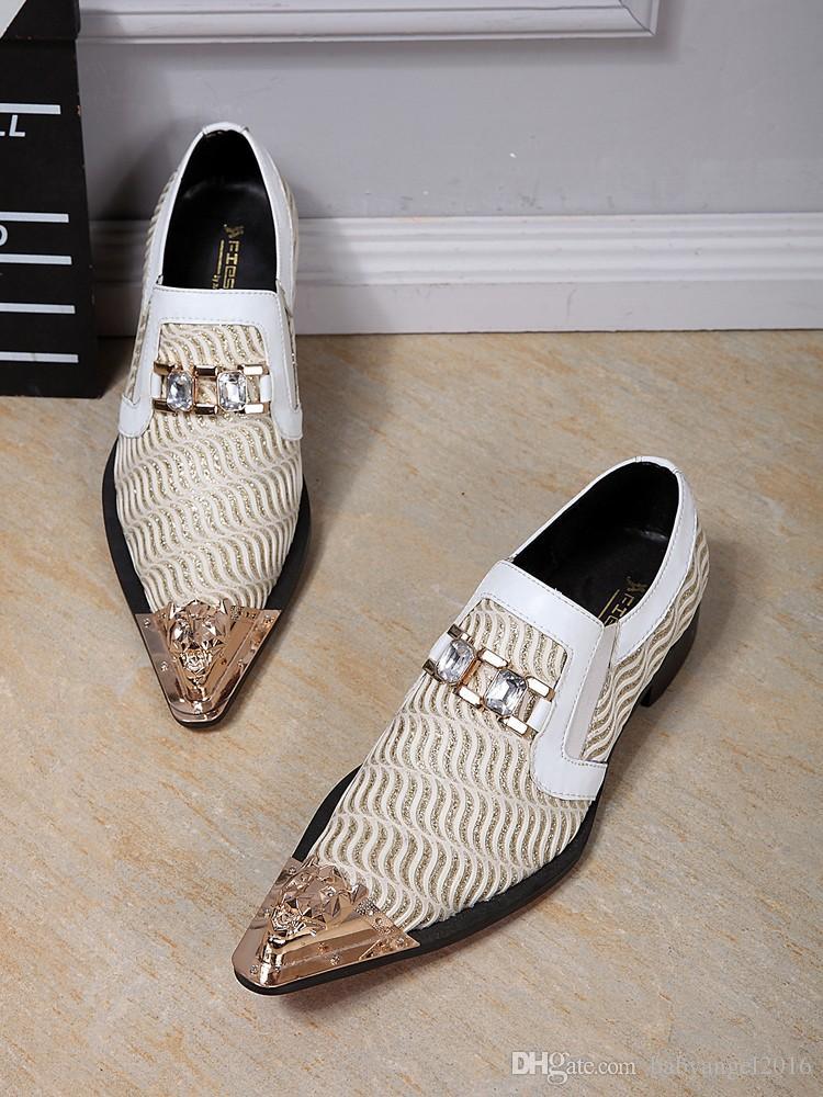 Männer kleiden Schuhe Kristall Loafers echtes Leder Designer-Mann-Ebene Hochzeit Geschäftsleute Elegante Schuhe