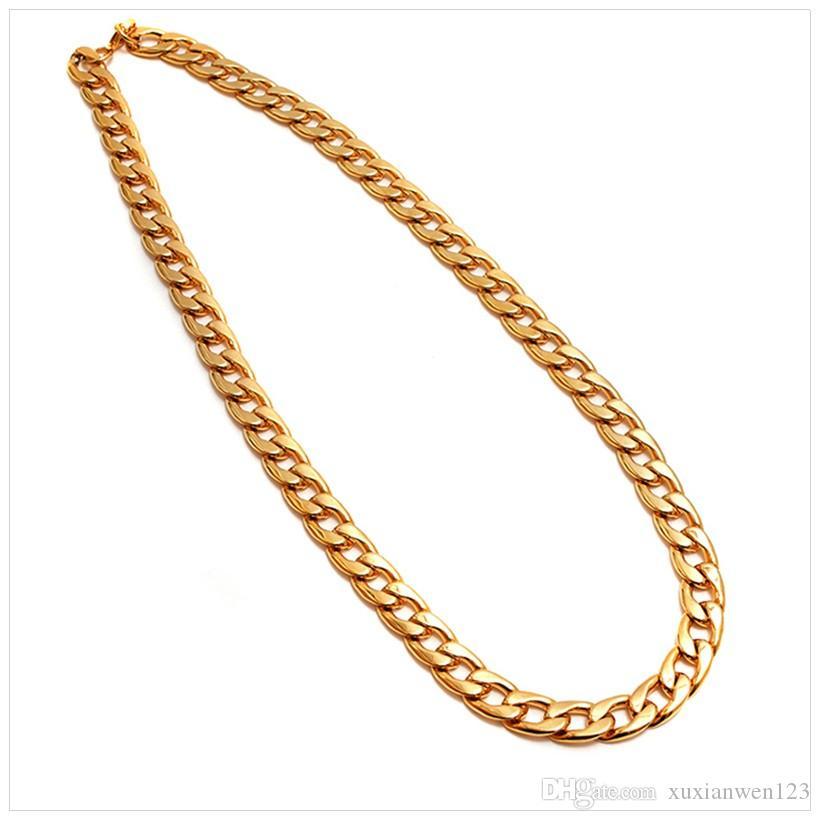 2017 Hot 75cm runde Form gezügelt Kette Kette Bling Bling Halskette Großhandelsgold überzog Cuban Link Kettenhalsketten Männer Schmuck Geschenk