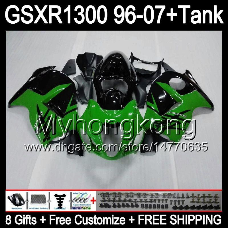 8gift для SUZUKI Hayabusa GSXR1300 96 97 98 99 00 01 13my9 глянцевый зеленый GSXR 1300 GSX-R1300 GSX R1300 02 03 04 05 06 07 обтекатель черный зеленый