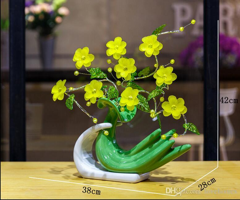 Modern Lucky banana 5 Shapes Ceramic Vase for Home Decor Tabletop this pirce is for a set vase and flowers together