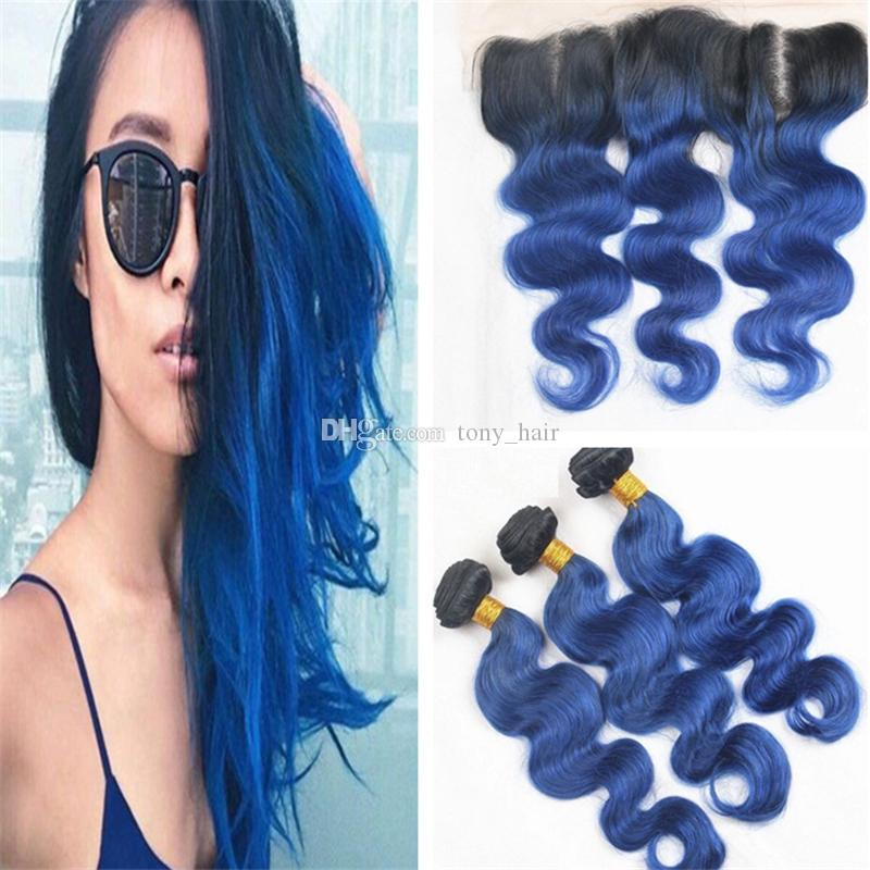 2018 indian 1b blue ombre virgin hair weaves with lace frontal 30 pmusecretfo Choice Image