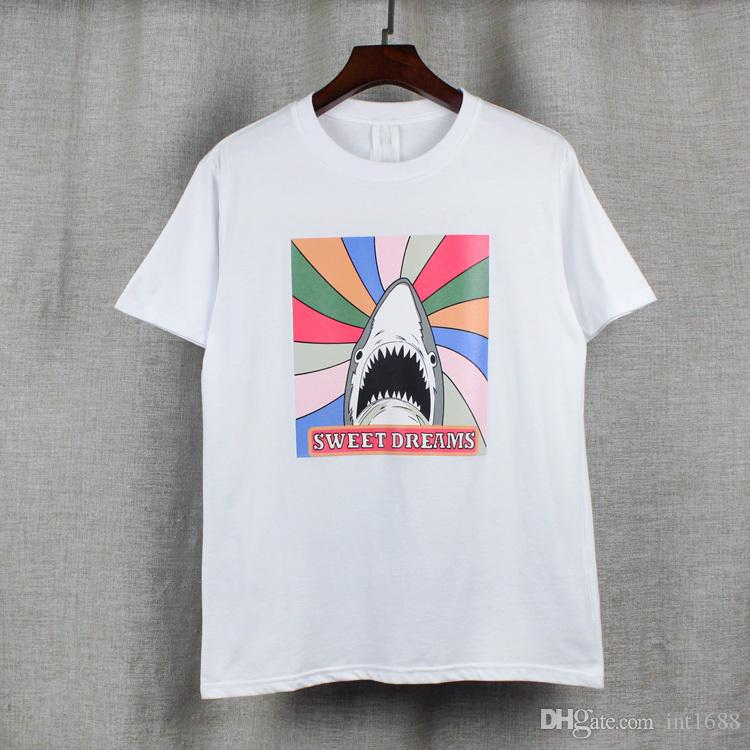 2017 new high-end men's brand t-shirt fashion 3D shark printing 100%cotton t shirt short-sleeved t shirt men