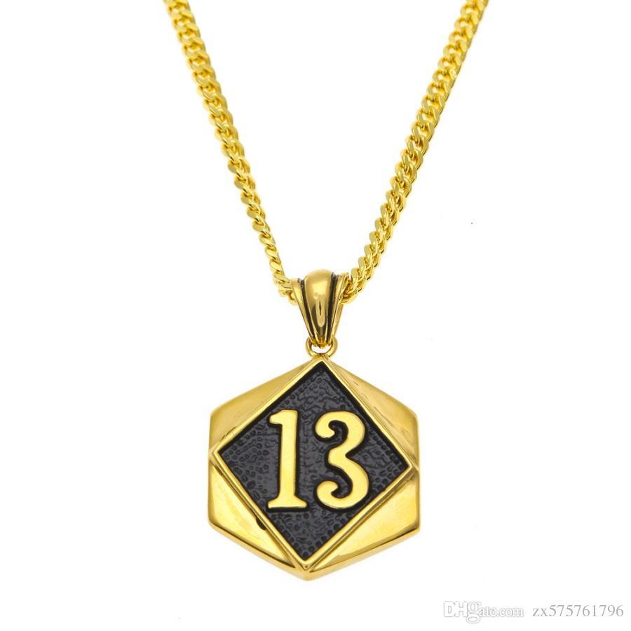 Men lucky number 13 pendant necklaces design jewelry punk filling men lucky number 13 pendant necklaces design jewelry punk filling pieces hip hop rock golden fashion chains for mens men necklaces number necklaces hip hop aloadofball Image collections