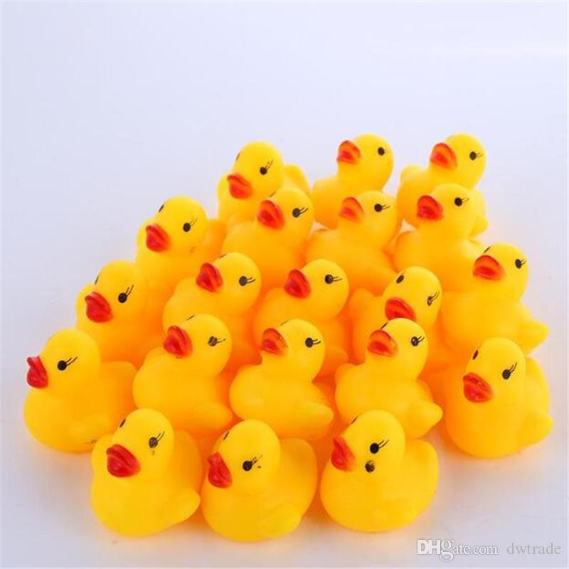 High Quality Baby Bath Water Duck Toy Sounds Mini Yellow Rubber Ducks Bath Small Duck Toy Children Swiming Beach Gifts
