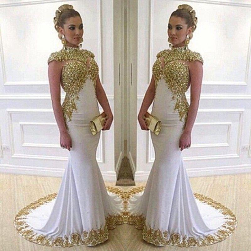 White Mermaid Long Unique Prom Dresses