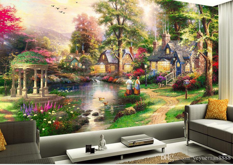 wallpaper luxus for living room custom 3d stereoscopic wallpaper photo Blue castle blue sky reflection