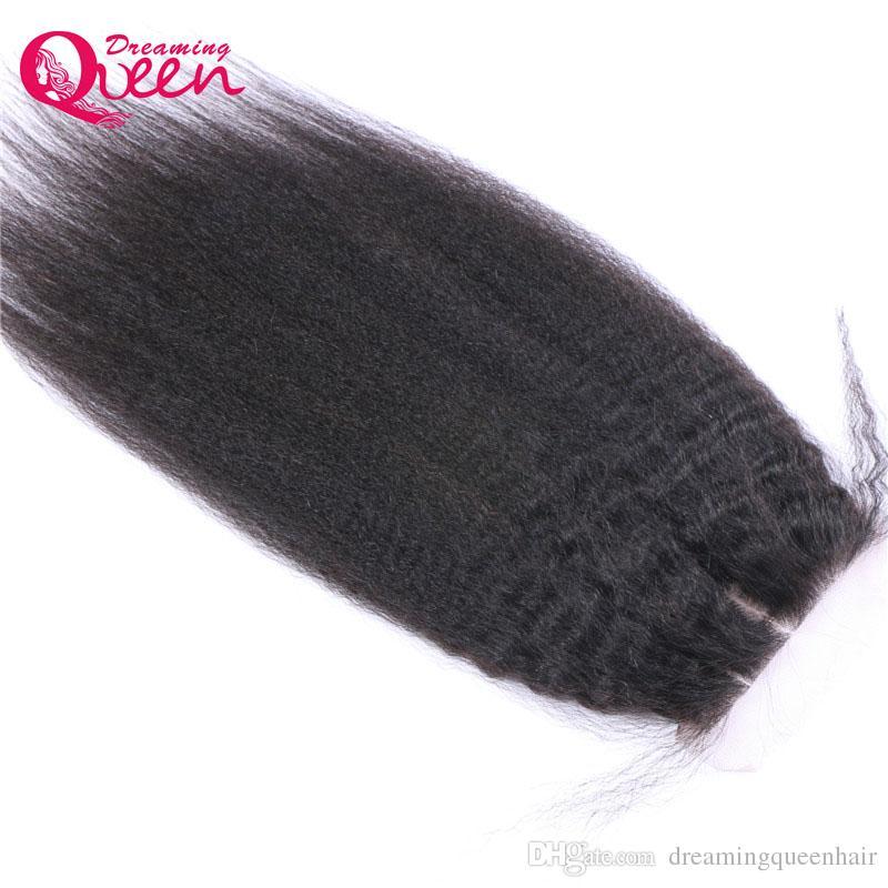 Brazilian Kinky Straight Lace Closure Brazilian Virgin Human Hair Cos Kinky India Kinky 4x4 Closure Bleached Knots