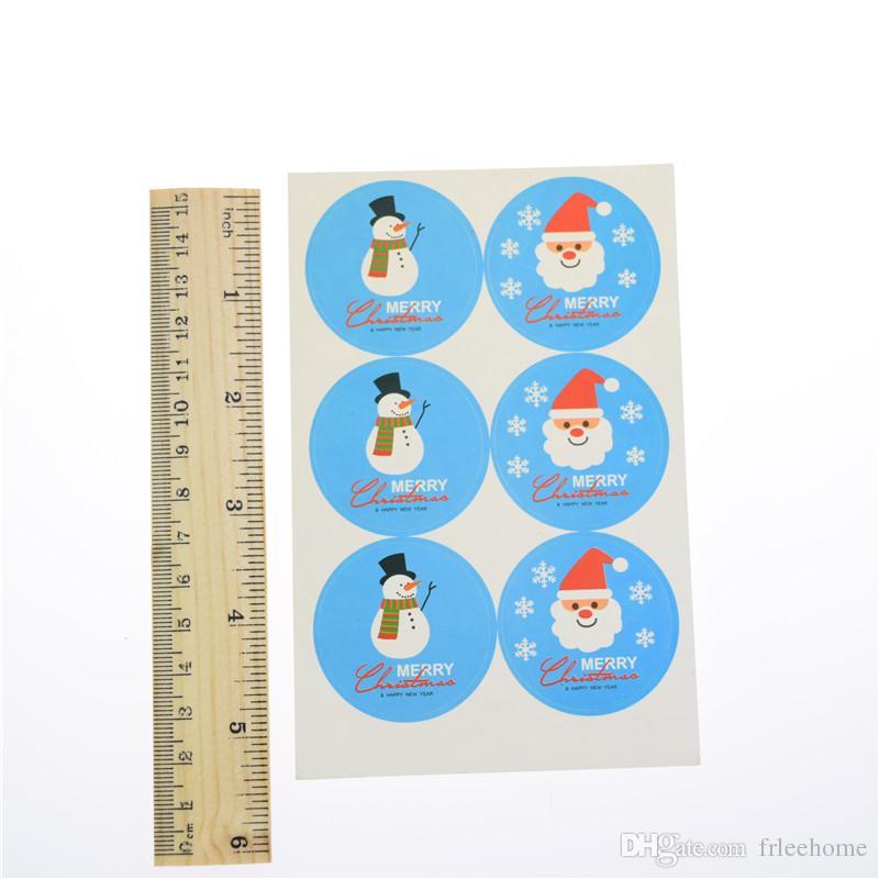 100 adet Merry Christmas SnowmanSanta yan tümce Mavi Mühür Etiket Rozet etiketleri Etiketleri Mühür Zarf Hediye Kutusu Sarma Pişirme Dekor