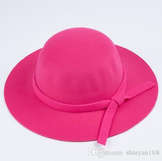 Wide Brim Beach Retro Hats British Style Summer Ladies Women Wool Felt Fedora Floppy Cloche Bowknot Sun Hat Leisure Trend Joker Caps