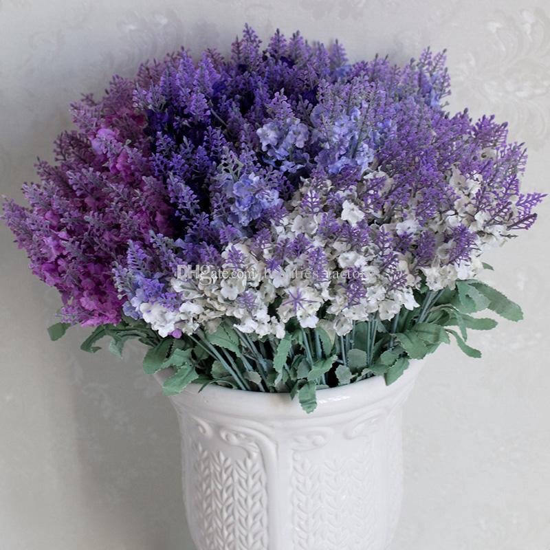 Artificielle Lavande De Soie Fleur 1 Bouquet 10 Tête Fausse Feuille Accueil Partie Jardin De Mariage Décor Blanc / Rose / Violet