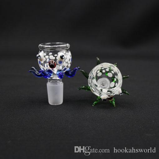 New Arrive Big And Deep bowl octopus Style in Color Blue Green 18.8mm For Glass water pipe bongs ,Glass bong GLA004