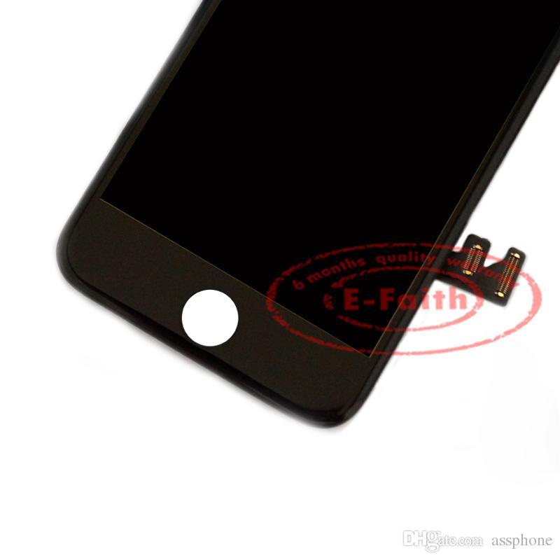 Vit glas pekskärm digitizer LCD-montering Byte för iPhone 5 5G med hemknapp + Kamerafri frakt