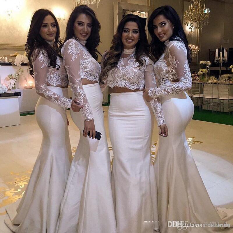 Dos piezas Blanco Elegante Vintage Sirena Vestidos de dama de honor 2018 Vestido de fiesta Mangas largas transparentes Cuello alto Top de encaje Vestidos de dama de honor