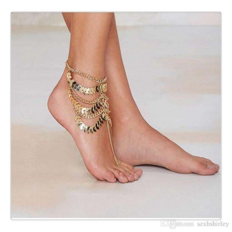 Best Fashion Foot Jewelry Charms Women Gold Barefoot Coin